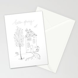 Hello Spring Ink Sketch Drawing Stationery Cards