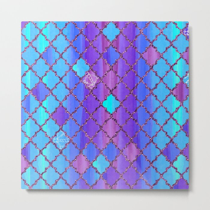 Moroccan Tile Pattern In Purple And Aqua Blue Metal Print