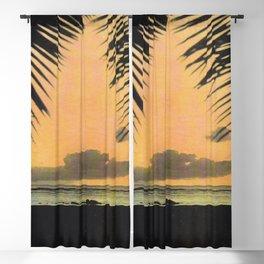 Waikiki Beach Sunset Through the Coconut Trees Blackout Curtain