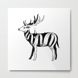 Lost in Its Own Existence (Deer) Metal Print