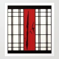 Shoji with bamboo ink painting Art Print