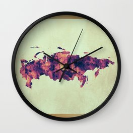 Russia Map with Flag Wall Clock
