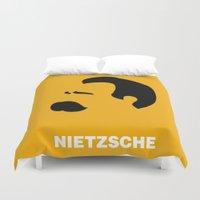 nietzsche Duvet Covers featuring NIETZSCHE by eve orea