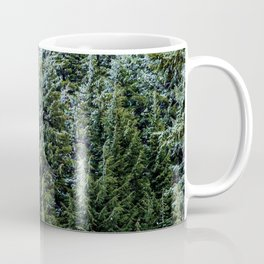 Snow Bank Woodlands // Photograph of the Dense Blue Green Evergreen Pine Tree Forest Coffee Mug