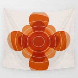 Earthy Red Scandinavian Floral Design Wall Tapestry