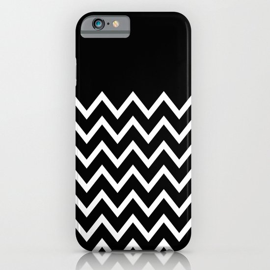 White Chevron On Black iPhone & iPod Case
