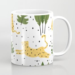 cute trendy abstract pattern background with leopards and tropical leaves Coffee Mug