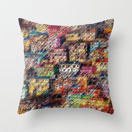 City Landscape of the Colored Himalayan Houses of Shimla, India by Jeanpaul Ferro Throw Pillow