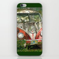 vw bus iPhone & iPod Skins featuring VW Bus in the Woods by Barb Laskey Studio