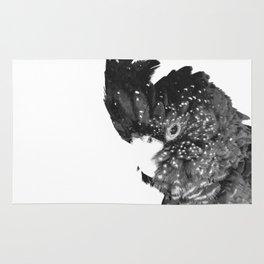 Black and White Cockatoo Illustration Rug