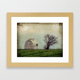 White Barn, Field, Tree, Kalona, Iowa Framed Art Print