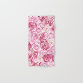 Hand painted white blush pink  coral floral Hand & Bath Towel
