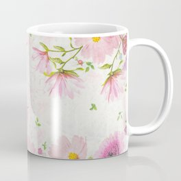 Pink Floral Drawing Coffee Mug