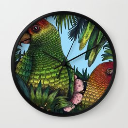 Parrots in a Tree Wall Clock