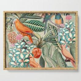 Vintage & Shabby Chic - Sepia Tropical Bird Garden Serving Tray