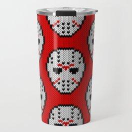 Knitted Jason hockey mask pattern Travel Mug