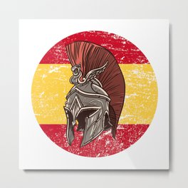 Spain Spanish Spartan  TShirt Warrior Shirt Flag Gift Idea Metal Print
