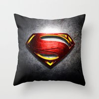 man of steel Throw Pillows featuring Man of Steel by bimorecreative