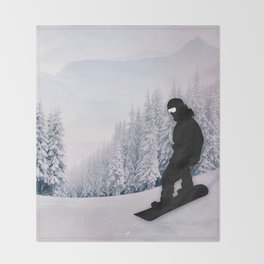 Snowboarding Throw Blanket