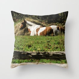 Paint By Nature Horse Photo Throw Pillow