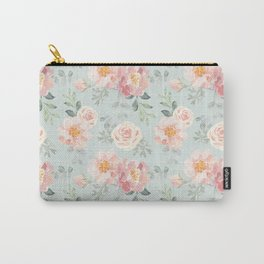 Pink roses, peonies on the gray Carry-All Pouch