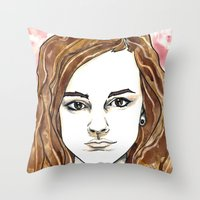hermione Throw Pillows featuring Hermione Granger by Boni Dutch