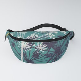 Twilight Stars. Botanical Macro Abstract in Blue. Fanny Pack