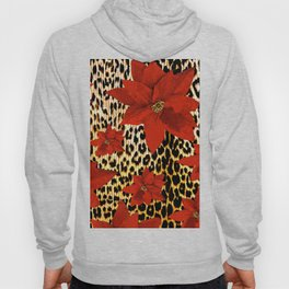 Animal Print Leopard and Red Poinsettia Hoody
