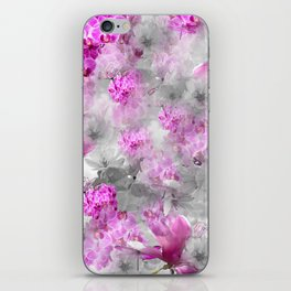 CHERRY BLOSSOMS ORCHIDS AND MAGNOLIA IMPRESSIONS IN PINK GRAY AND WHITE iPhone Skin
