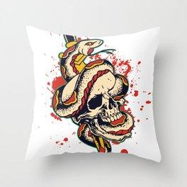 Skull and Snake Flash Art Throw Pillow