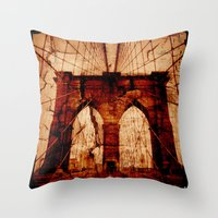 brooklyn bridge Throw Pillows featuring Brooklyn Bridge by Del Vecchio Art by Aureo Del Vecchio