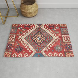 White Hooked Diamond // 19th Century Authentic Simple Colorful Aztec Accent Pattern Rug