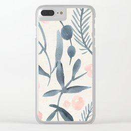 Pretty Pastel Pink Navy Blue Floral Pattern Clear iPhone Case