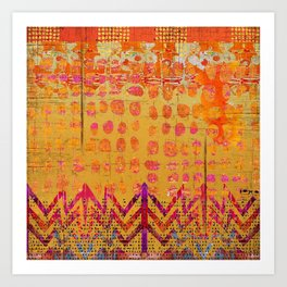 Gold and Orange Dot Abstract Art Collage Art Print