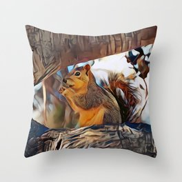 Tree top scoundrel Throw Pillow