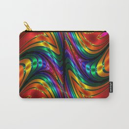 Fractal Silk and Metal Colors Waves Carry-All Pouch