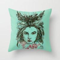 viria Throw Pillows featuring Crow queen by viria