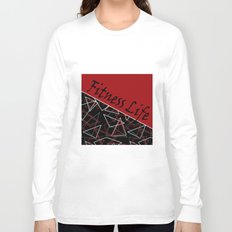The fitness club . Red black creative pattern . Long Sleeve T-shirt