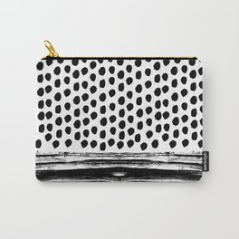 Zoe - Black and white dots, stripes, painted, painterly, hand-drawn, bw, monochrome trendy design Carry-All Pouch