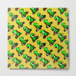 Super Mar!o Kart | Yellow || retrogaming nostalgia pattern Metal Print