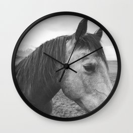 Horse Print in Black and White Wall Clock