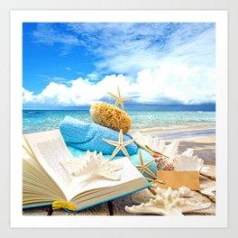 Beach Photography Neck Gator Starfish Sponge Book Art Print