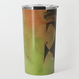 Cape Lookout lighthouse on the Outer Banks, North Carolina.  Watercolor painting Travel Mug