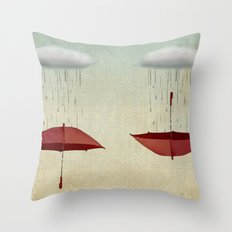 embracing the rain Throw Pillow