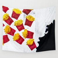 fries Wall Tapestries featuring Oh fries by Drica Lobo Art