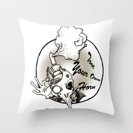 Toot Your Own Horn Throw Pillow