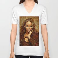 jennifer lawrence V-neck T-shirts featuring Portrait of Jennifer Lawrence by André Joseph Martin