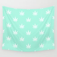 cannabis Wall Tapestries featuring Turquoise Mermaid Mint Cannabis Pot Leaf Pattern by RexLambo
