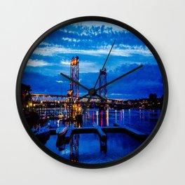 Night Bridge Lights Wall Clock
