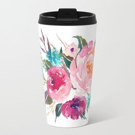 Watercolor Turquoise Pink Flower Bouquet Travel Mug